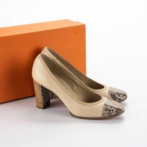 AGL Cream Round Toe Chunky Heels